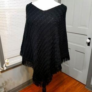 VINTAGE TORRID BLACK FRINGE PONCHO Size 3/4